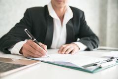 Business man signing contract making a deal, classic business Stock Images