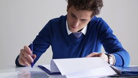 business man signing document stock footage