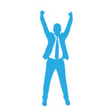 Business Man Silhouette Excited Hold Hands Up Royalty Free Stock Photography