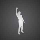 Business Man Silhouette Excited Hold Hands Up Raised Arms, Concept Winner Success. Vector Illustration Stock Images