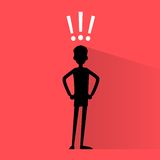 Business man silhouette with exclamation mark Royalty Free Stock Photography
