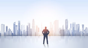Business Man Silhouette Over City Landscape Modern Office Buildings Royalty Free Stock Image