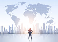 Business Man Silhouette Over City Landscape World Map Modern Office Buildings Stock Photography