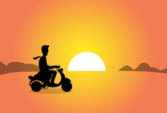 Business Man Silhouette Ride Electrical Scooter over Sunset Stock Photography
