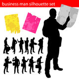 Business man silhouette set Royalty Free Stock Photography