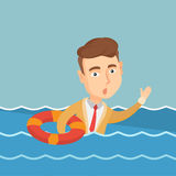Business man sinking and asking for help. Royalty Free Stock Images