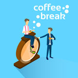 Business Man Sit On Alarm Clock Drink Coffee Break Concept Stock Image