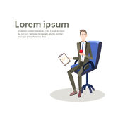 Business Man Sit In Armchair Hold Paper Contract Document Stock Image