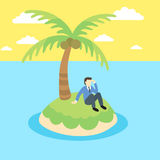 Business man sits on a desert island Royalty Free Stock Images