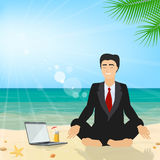 Business man sitting on the beach meditating in the lotus position in the suit. Business tourism. Vector royalty free illustration