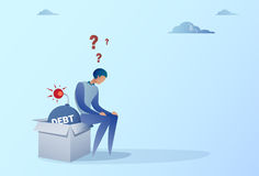 Business Man Sitting On Bomb Credit Debt Finance Crisis Concept. Flat Vector Illustration Royalty Free Stock Photo