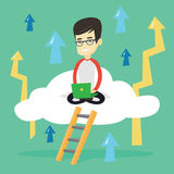Business man sitting on cloud with laptop. Royalty Free Stock Photos