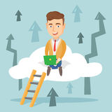 Business man sitting on cloud with laptop. Stock Photo