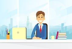 Business Man Sitting Desk Working Laptop Computer Stock Image