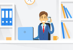 Business Man Sitting Desk Working Laptop Computer Royalty Free Stock Images