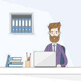 Business Man Sitting Desk Working Laptop Computer Stock Photo