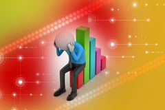 Business man sitting the financial graph. In color background Stock Photo