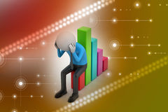 Business man sitting the financial graph. In color background Royalty Free Stock Image
