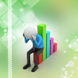 Business man sitting the financial graph. In color background Stock Photography