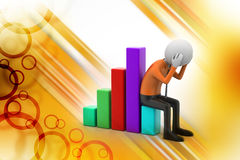 Business man sitting the financial graph Stock Images