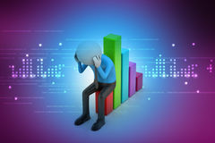 Business man sitting the financial graph. In color background Royalty Free Stock Photo