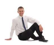 Business man sitting on the floor Royalty Free Stock Photography