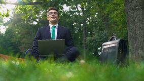 Business man sitting on grass and working on laptop in park outside office. Stock footage stock footage