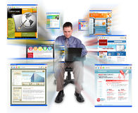 Business man Sitting with Internet Web Sites. A business man is sitting on a white, isolated background and is working on a laptop computer. He is browsing Royalty Free Stock Images