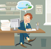Business man is sitting in office and dreams about Royalty Free Stock Photo