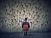 Free Business Man Sitting On A Chair In Front Of A Wall Has Many Questions, Wondering What To Do Next Royalty Free Stock Photography - 113676047