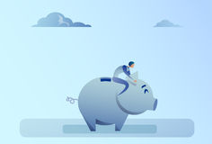 Business Man Sitting On Piggy Bank Money Savings Concept. Flat Vector Illustration Stock Images