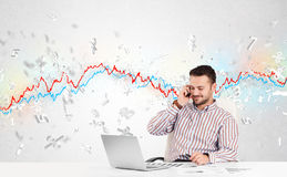 Business man sitting at table with stock market graph Royalty Free Stock Photos