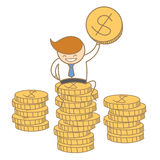 Business man sitting on top of dollar coin Stock Image