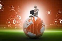 Business man sitting on top of the globe in color background Stock Photo
