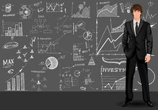 Business man sketch background Stock Photography