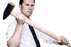 Business man with sledge hammer Royalty Free Stock Photos