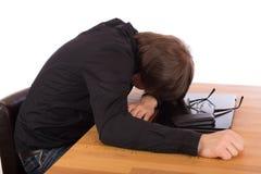 Business man sleep on his laptop Stock Photography