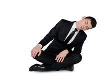 Business man sleep sitting down. Isolated business man sleep sitting down Stock Image
