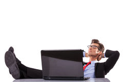 Business man is sleeping on his desk stock photo