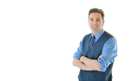 Business man with sleeves up and arms crossed. Business man with sleeves rolled up and arms crossed ready to get to work Royalty Free Stock Photos