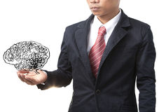Business man and smart brain Royalty Free Stock Images