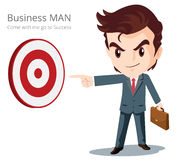Business Man smart character. Vector of Business man character look so smart pointing graph go to success Stock Photos