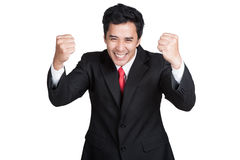 Business man smart happy sucess suit isolated Royalty Free Stock Photos