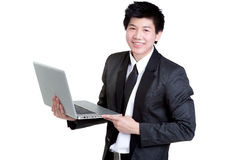 Business man smart hold notebook suit Royalty Free Stock Image