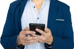 Business man with smart phone. Communication concept stock photography