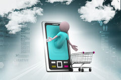 Business man and   smart phone with shopping Royalty Free Stock Images
