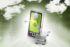 Business man and   smart phone with shopping Stock Photo