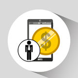 Business man smartphone money currency icon Stock Photo