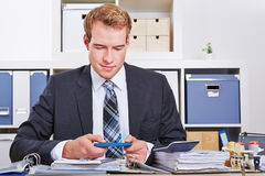 Business man with smartphone Stock Photography