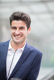 Business man smile look something Royalty Free Stock Photography